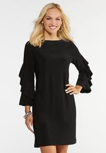 Plus Size Flounce Sleeve Sheath Dress