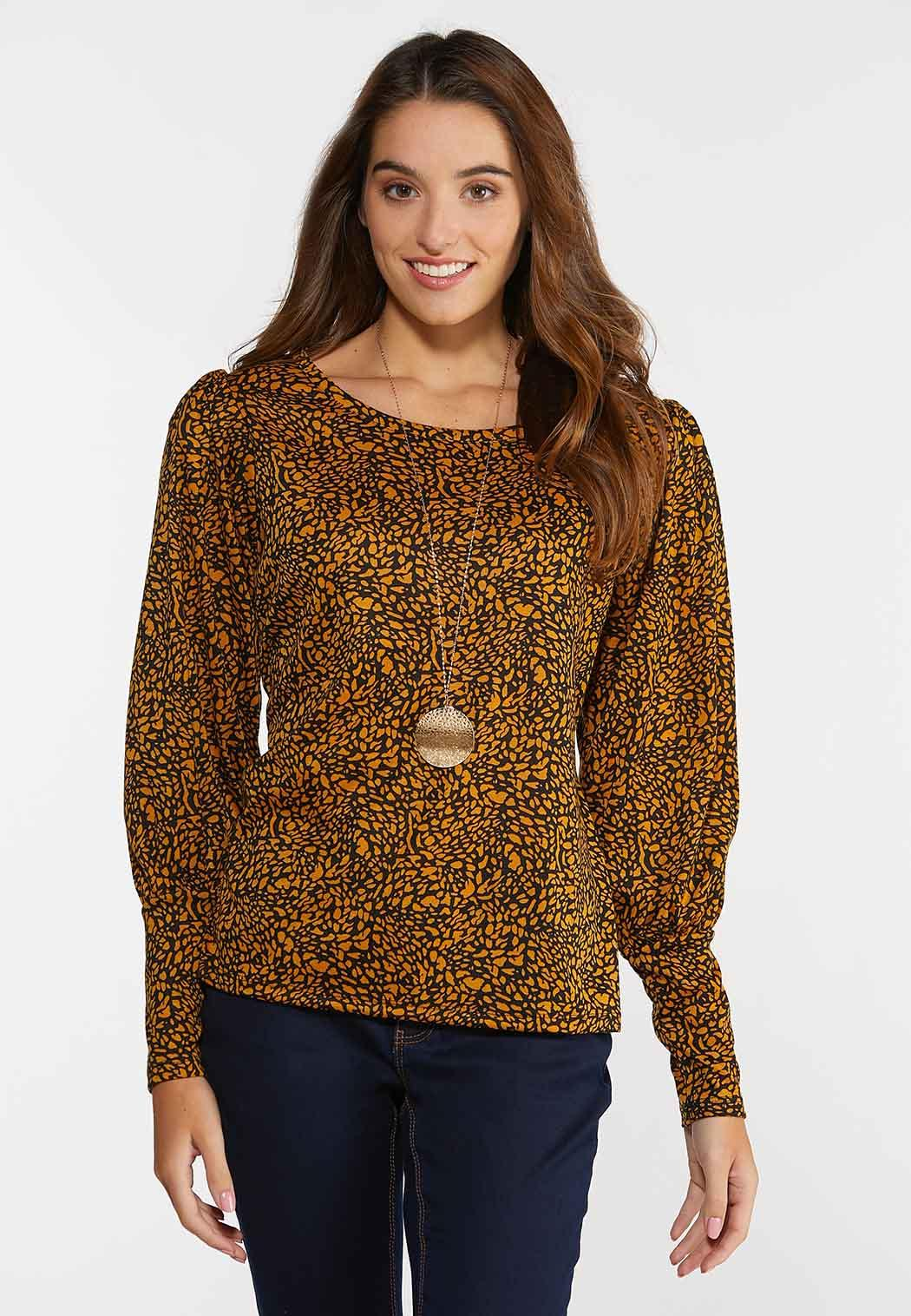Plus Size Printed Puff Sleeve Top