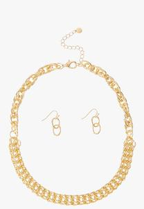 Gold Link Necklace Earring Set