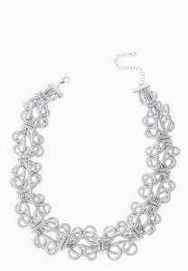 Twisted Silver Metal Necklace