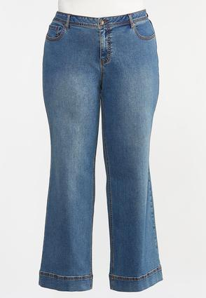 Plus Petite High- Rise Wide Leg Jeans