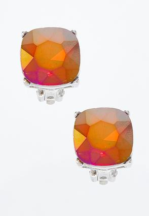 Square Glass Clip- On Earrings