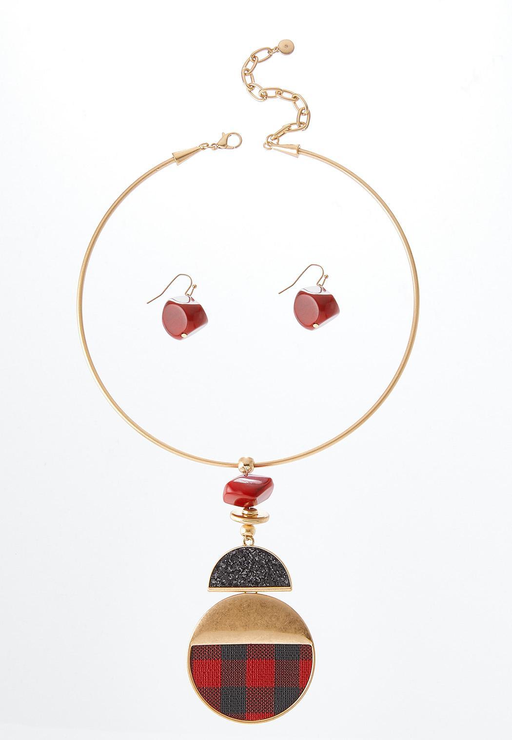 Plaid Pendant Necklace Earring Set