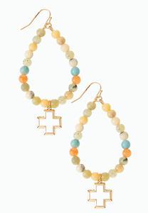 Acrylic Bead Cross Earrings