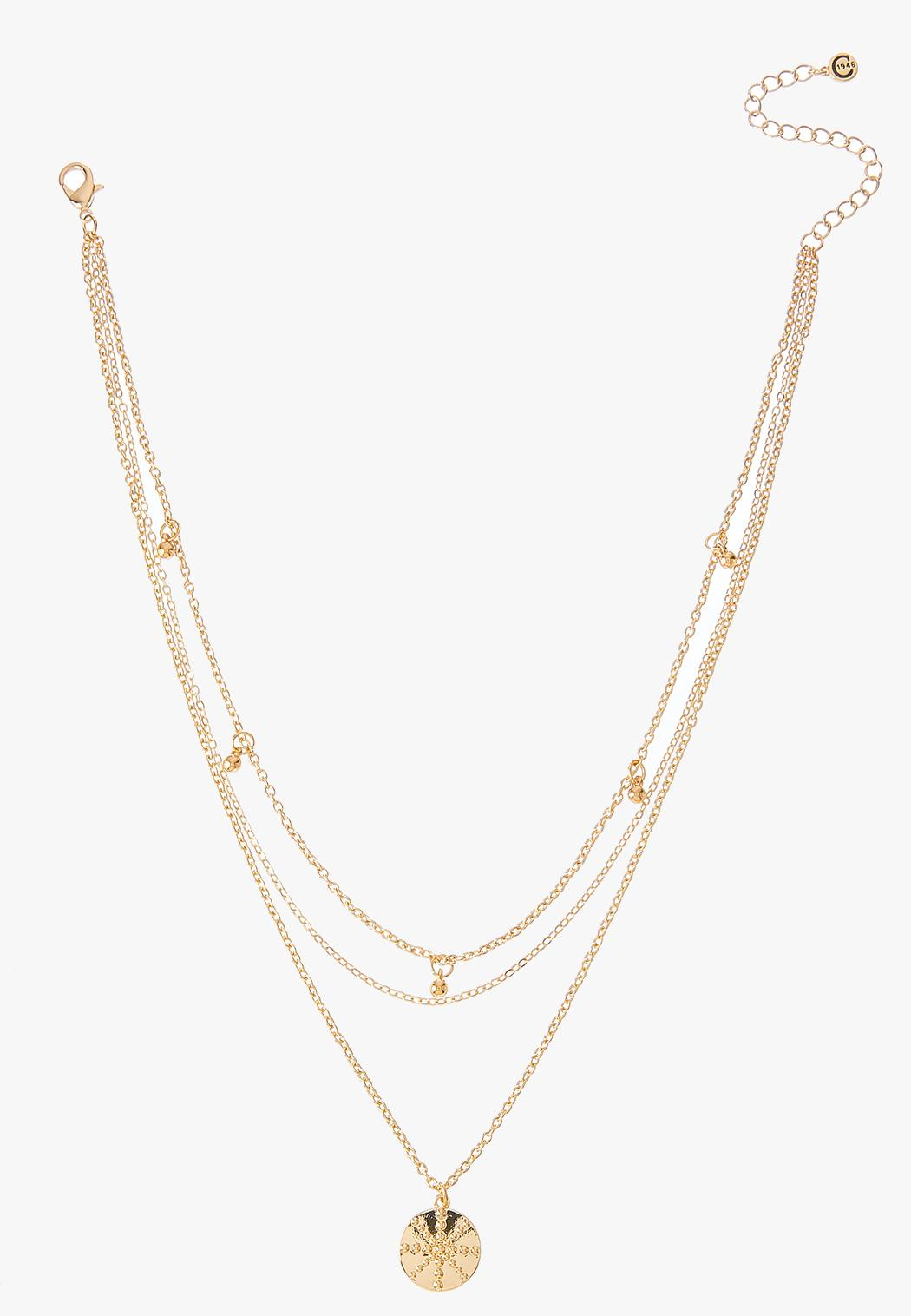 Layered Golden Snowflake Pendant Necklace