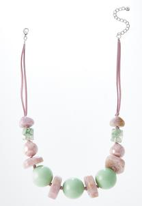 Pink Green Bead Cord Necklace