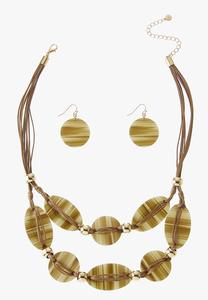 Layered Lucite Cord Necklace Set
