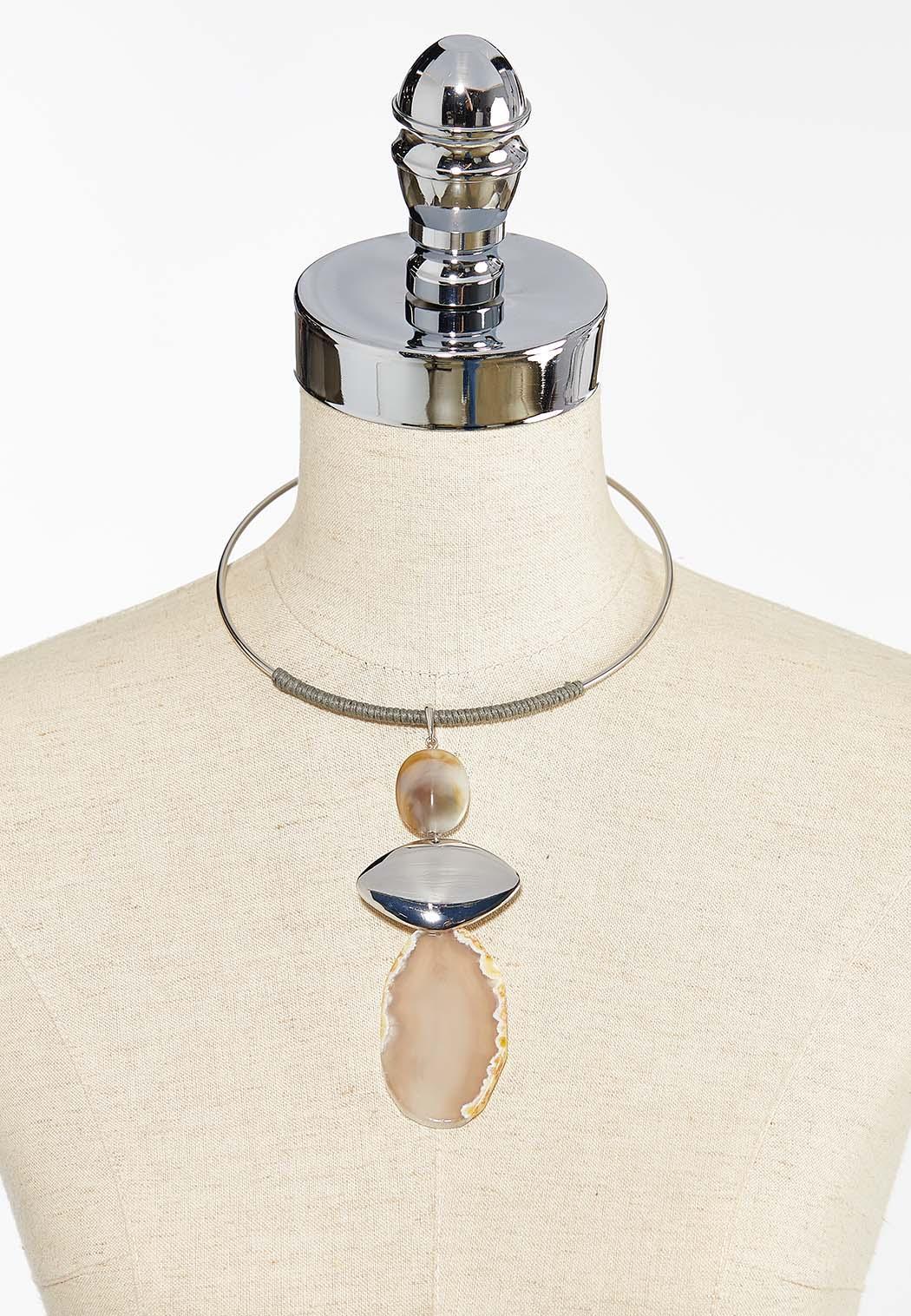 Tiered Semi Precious Pendant Necklace