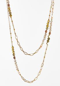 Layered Chain Bead Necklace