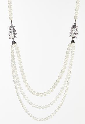 Sparkly Layered Pearl Necklace