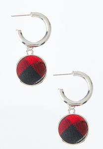 Plaid Button Hoop Earrings