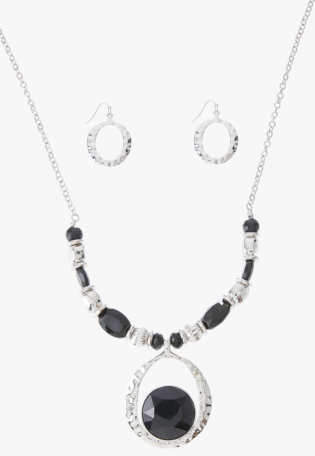 Silver Acrylic Pendant Necklace Earring Set