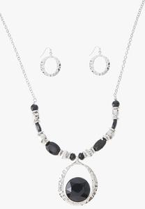 Silver Acrylic Pendant Necklace Earring Set
