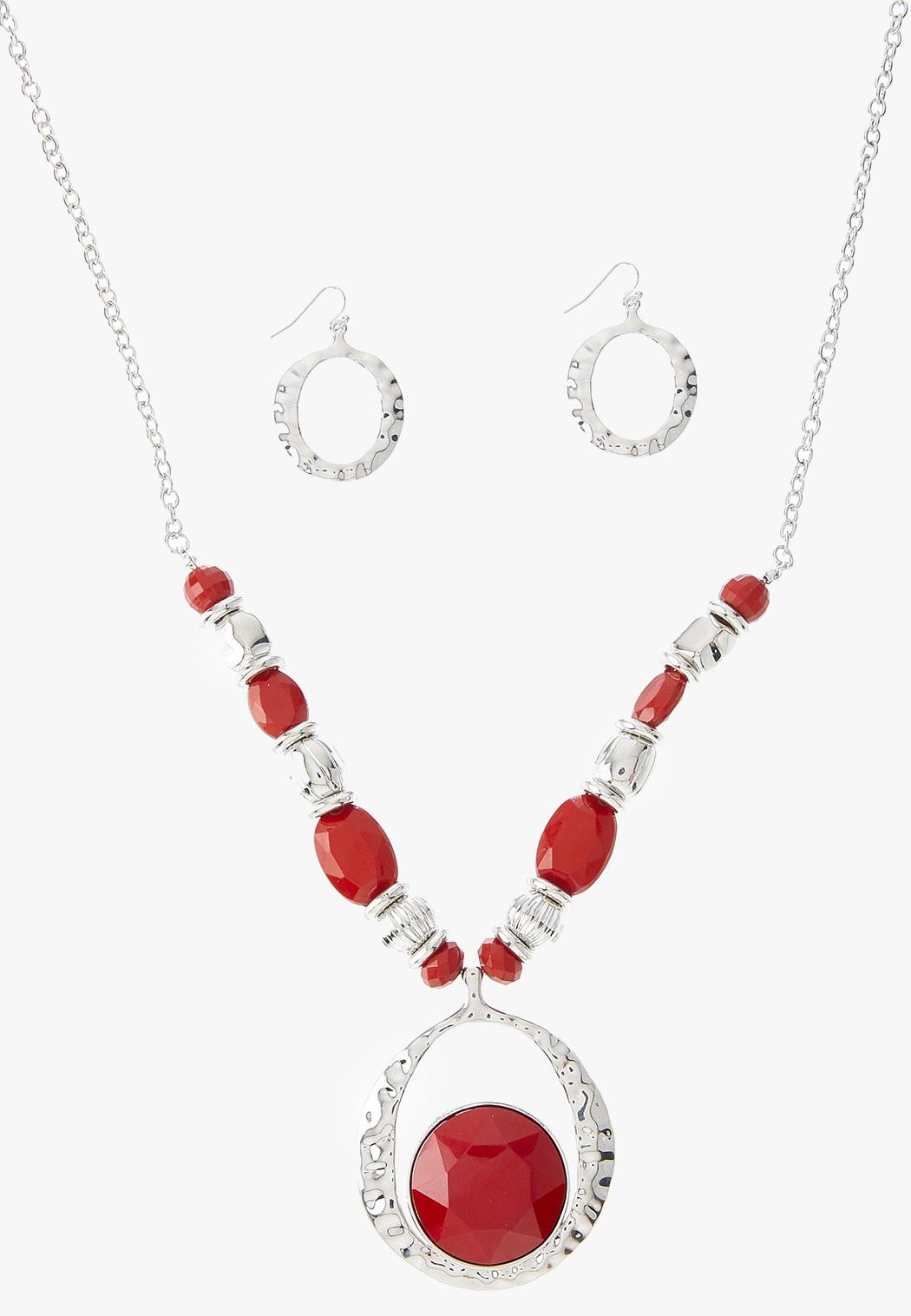 Royal Red Pendant Necklace Earring Set