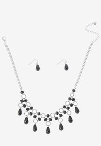 Cylinder Glass Necklace Earring Set