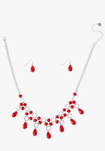 Romantic Red Necklace Earring Set