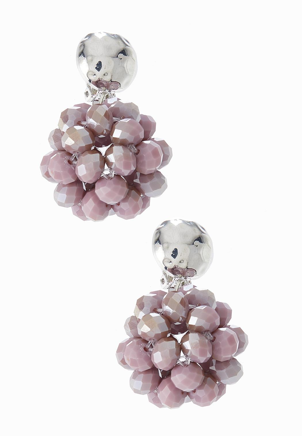 Rondelle Cluster Bead Clip-On Earrings