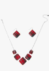 Short Plaid Necklace Earring Set