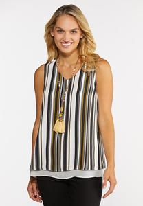 Plus Size Striped Layered Tank
