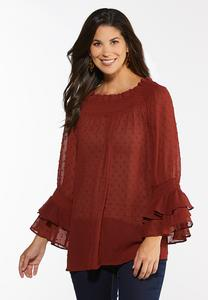 Plus Size Ruffled Swiss Dot Top
