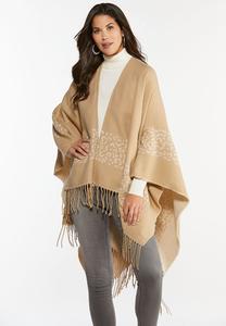 Fringed Border Sweater Wrap