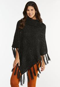 Tasseled Sequin Poncho