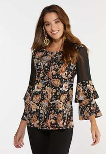 Paisley Sheer Panel Sleeve Top