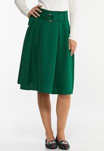 Green Belted Paperbag Skirt