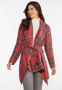 Plus Size Noel Plaid Belted Jacket
