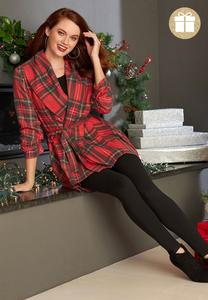 Plus Size Noel Plaid Belted Jacket