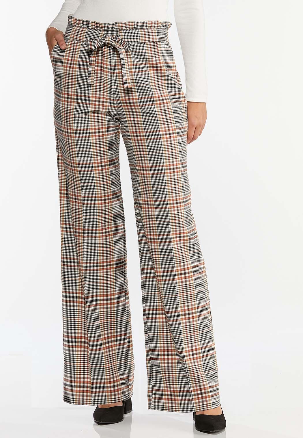 Plaid Paperbag Waist Pants