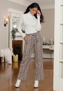 Plaid Paperbag Waist Pants