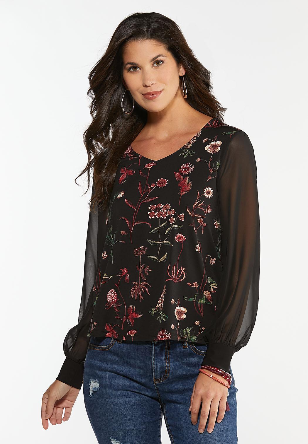 Floral Sheer Sleeve Top