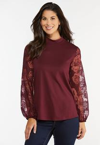 Plus Size Lace Sleeve Mock Neck Top