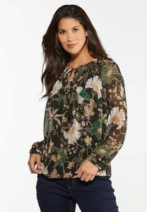 Sheer Floral Poet Top