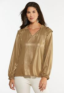 Plus Size Gold Metallic Ruffle Top