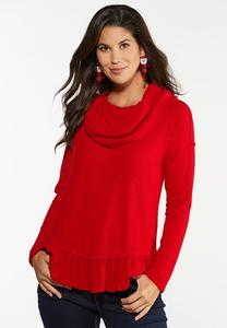 Plus Size Cowl Neck Peplum Top