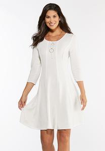 Plus Size Sparkle Ivory Seamed Dress
