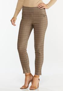 Chestnut Plaid Pull-On Pants