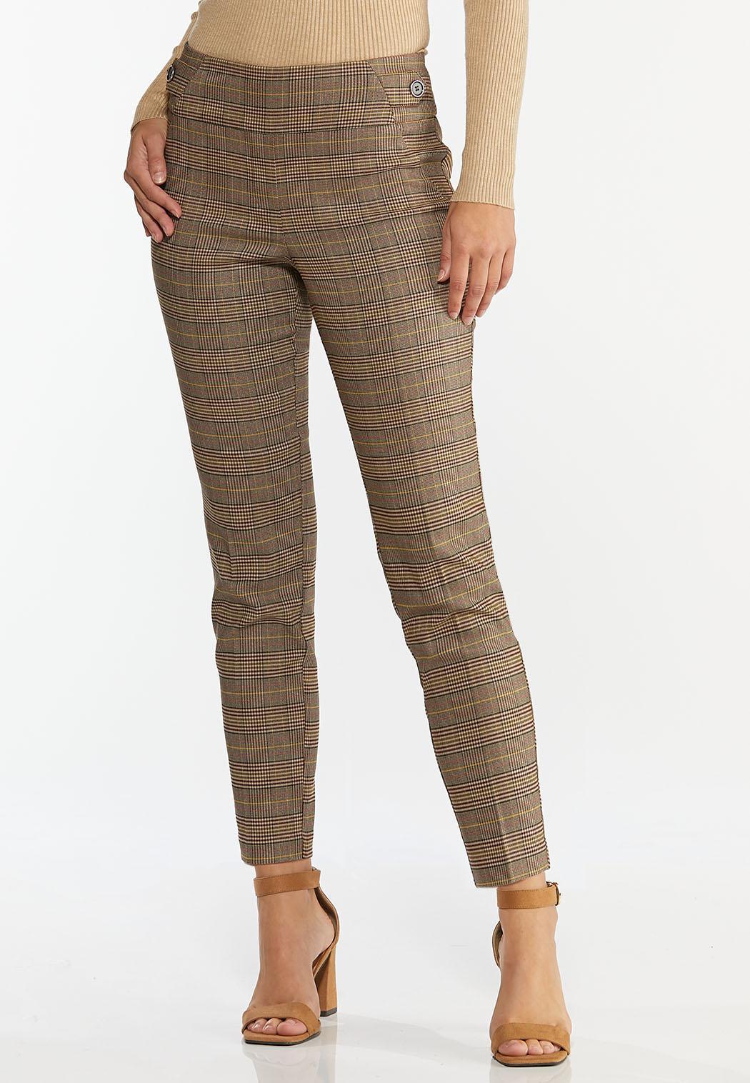 Plaid Button Tab Pants