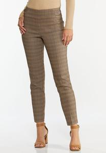 Plaid Button Tab Pants