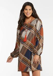 Plus Size Plaid Balloon Sleeve Dress