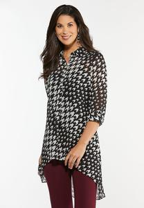 Houndstooth High-Low Tunic