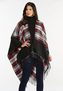 Colorblock Plaid Wrap