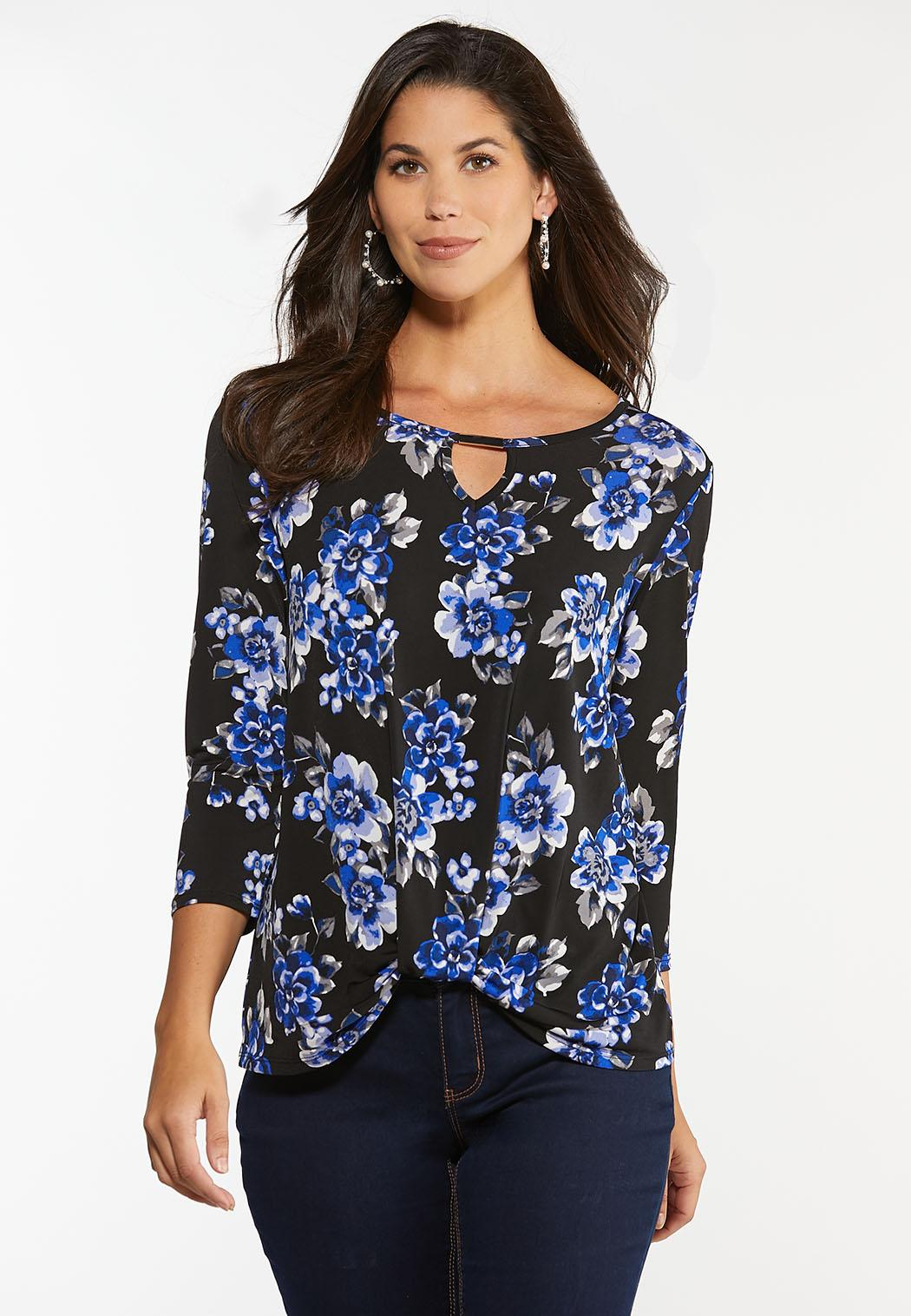 Plus Size Twisted Blue Blossom Top