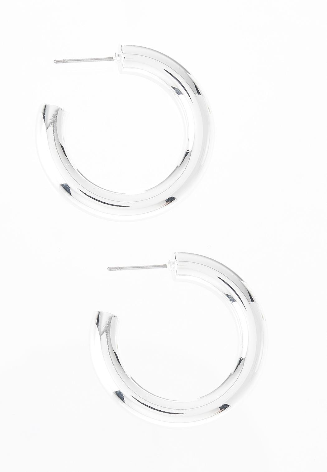 Small Tubular Silver Hoop Earrings