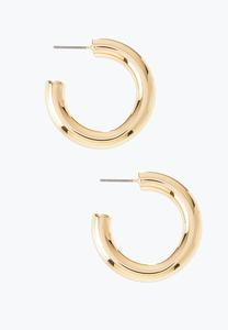 Small Tubular Gold Hoop Earrings