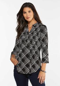 Dotted Plaid Top