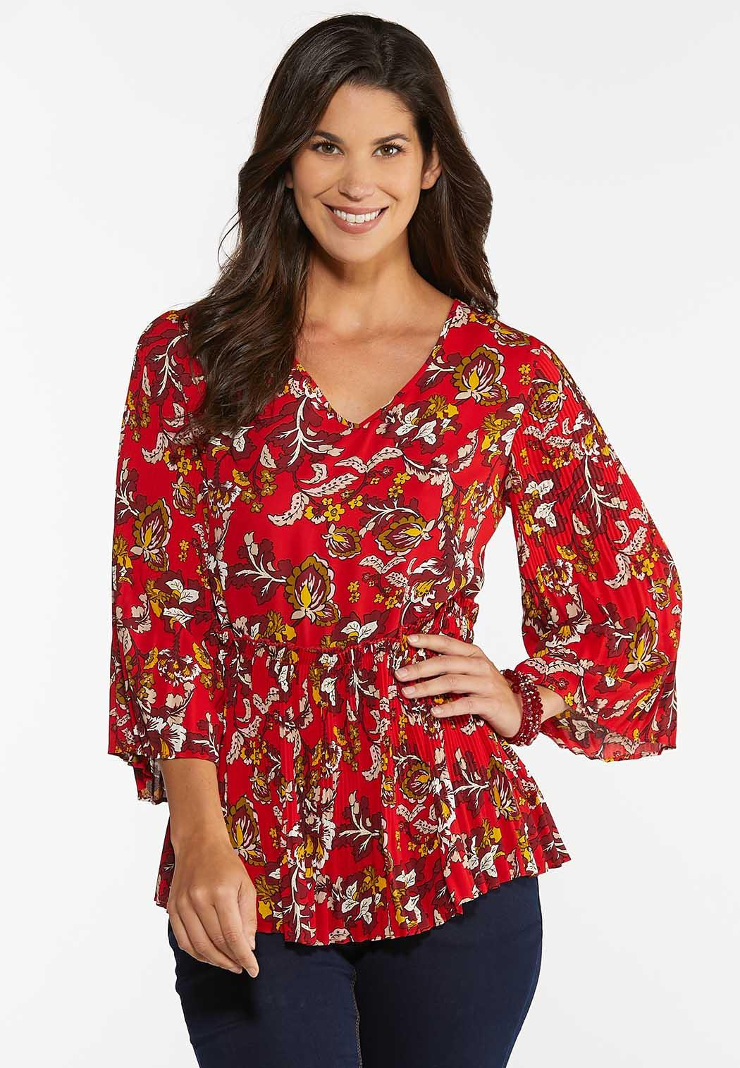 Floral Pleated Babydoll Top