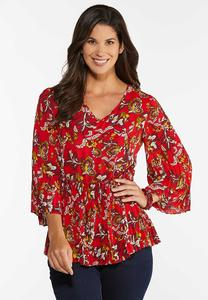 Plus Size Floral Pleated Babydoll Top